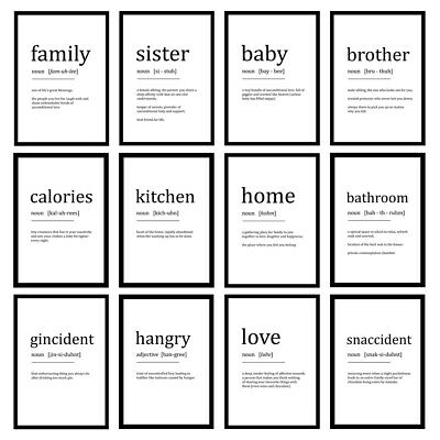 £3.25 • Buy Funny Word Definition Prints Dictionary Wall Art - Unframed Posters