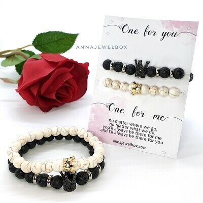 £9.95 • Buy His And Her King Queen Matching Bracelets Gift Boyfriend Girlfriend Couples UK
