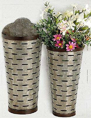 Set Of 2 Wall Planter Hanging Galvanized Metal Tall Olive Bucket Container Organ • 57.58£