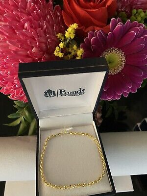 AU179 • Buy Brand New In Box 9ct Yellow Gold 19cm Rope Style Bracelet Prouds
