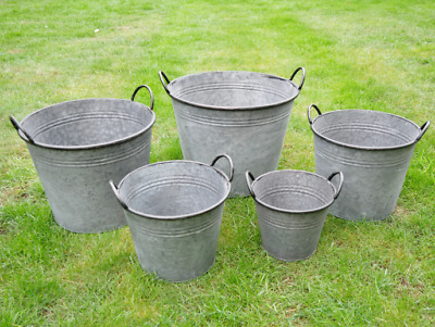 Vintage Style Galvanised Buckets Planters Tubs Garden • 29.95£