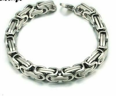 Men's Stainless Steel Silver Byzantine Link Chain Bracelet Heavy Feel Biker 22cm • 10.99£