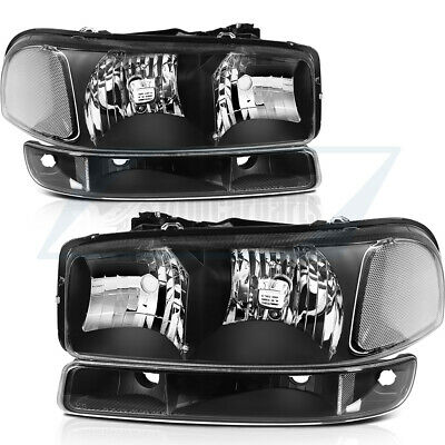 $99.49 • Buy 4pcs Clear For 99-07 GMC Sierra Headlights + Bumper Light Headlamps Assembly Kit