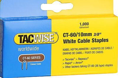 £4.25 • Buy  Tacwise CT-60/10mm White Cable Tacker Staples (Box Of 1000 )