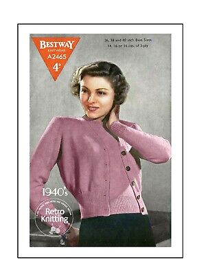 £3.99 • Buy 1940's Classic Twin Set Vintage Knitting Pattern Bust 36-40