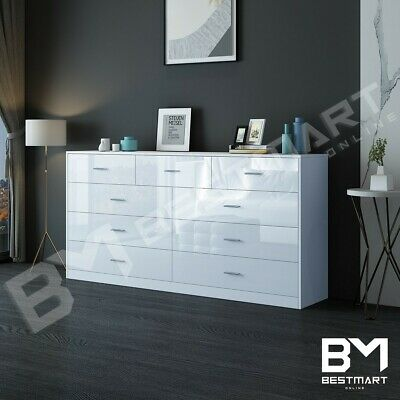 AU299 • Buy 9 Chest Of Drawers Tallboy Dresser Bedroom Storage Cabinet Gloss Wooden White