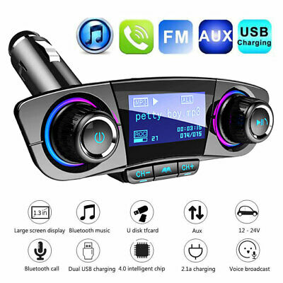 Car FM Transmitter Handsfree Wireless Bluetooth Kit MP3 Player USB Charger AUX • 11.99£