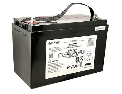 £798.99 • Buy Ultramax 12v 100Ah Lithium Phosphate LiFePO4 Battery For Marine With Bluetooth