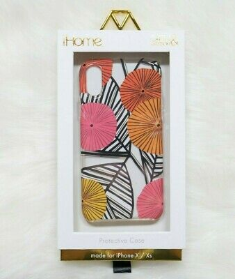 Iphone Case Tropical Ihome X Xs Light Pink Edges New Orange Clear Rigid NWT • 7.12£