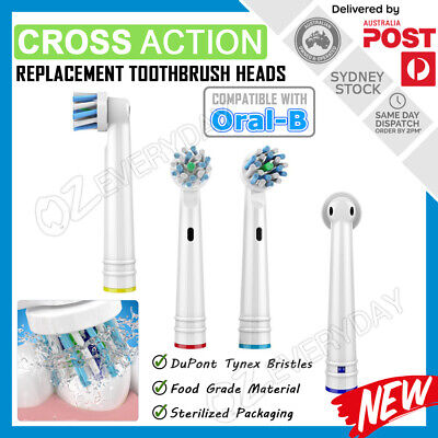 AU6.20 • Buy CROSS ACTION Oral-B Compatible Electric Toothbrush Replacement Brush Heads X4