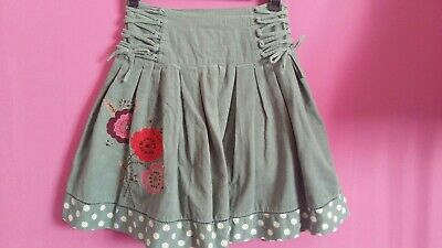 MONSOON Girls Green Baby Cord Floral Applique Polka Dot Hem Skirt Age 8-10 Years • 15£