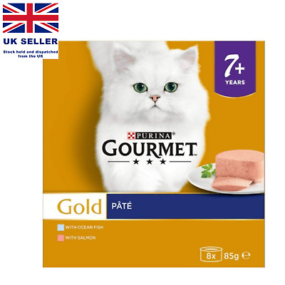 Purina Gourmet Gold Senior Pate With Fish And Salmon Cat Food (85 G) UK • 11.99£