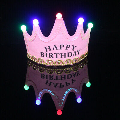 £3.99 • Buy Happy Birthday LED Light Up Prince/Princess Crown Party Hat Pink/Blue/Yellow/Red