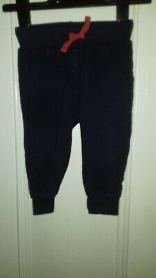 Bluezoo Baby Girls Navy Blue Fleece Lined Jogging Pants - Age 6-9 Months • 2£
