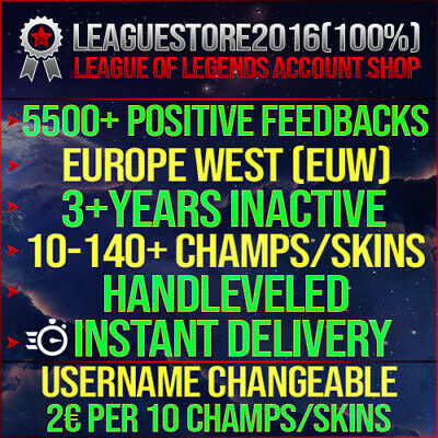 £4.25 • Buy League Of Legends Account LOL EUW Unranked Lvl 30 All Champs Smurf Skins Acc BE