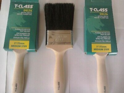 £15.99 • Buy 3 T-class Delta 3  Inch Natural Bristle  Paint Brushes By Harris