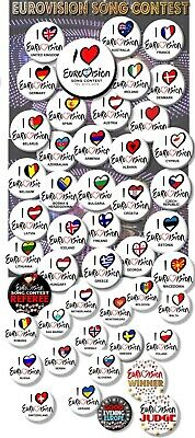 £2.99 • Buy Eurovision Song Contest Party Badges/great Eurovision Sweepstake 2~ 55 Mm/ 2.1