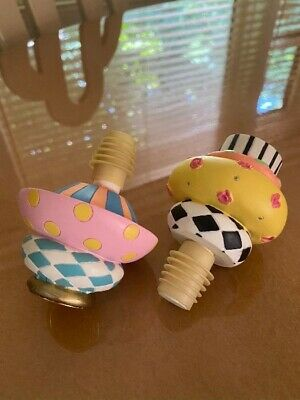 $75 • Buy MACKENZIE CHILDS Colorful Courtly Check Wine BOTTLE STOPPER  Topper Lot Of 2