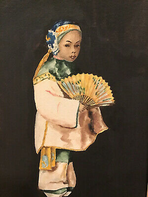$ CDN182.81 • Buy 1930s ORIGINAL CHINESE GIRL W/YELLOW FAN WATERCOLOR PAINTING~LIKE ESTHER HUNT