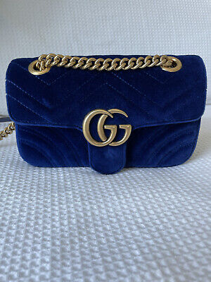 AU1400 • Buy 100% Authentic Gucci GG Marmont Velvet Blue Mini Shoulder Bag With Receipt