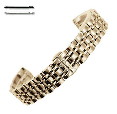 Steel Polished Rose Gold Metal Replacement Watch Band Strap Butterfly Clasp #58 • 14.44£
