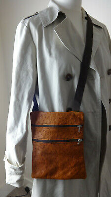 Tan Ostrich Leather Shoulder Small Zip Bag  • 12.95£