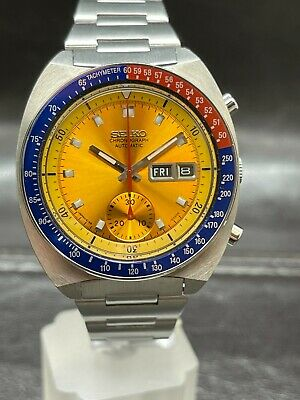 $ CDN1139.12 • Buy Vintage Seiko Chronograph Automatic 6139-6002 POGUE Yellow Dial Red And Blue