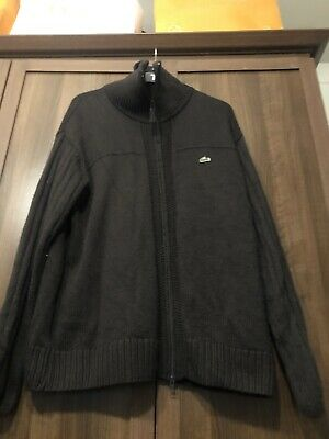 Vintage Lacoste Mens Brown Zip  Front Cardigan Sweater Wool Knit  Size 7 • 15£