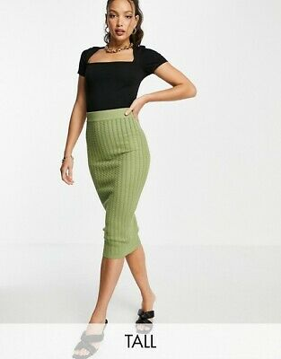 £10 • Buy Missguided Tall Khaki Cable Knit Skirt Size 8 Elasticated Waist NEW