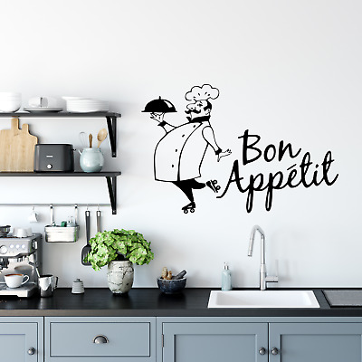 £3.99 • Buy Wall Art Stickers Bon Appetit Chef Removable Home Decals, Kitchen Quotes D