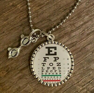 SNELLEN Eye Chart Optometrist Optician Ophthalmologist Pendant Necklace Keychain • 7.85£