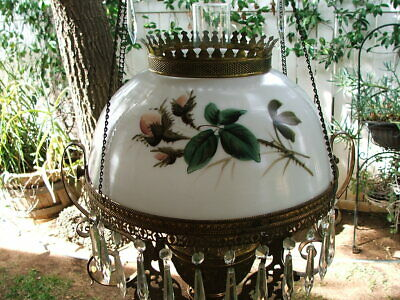 $ CDN209.34 • Buy Antique Hand Painted VICTORIAN Hanging LAMP SHADE For GWTW, Parlour, Oli Lamp