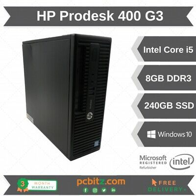 HP ProDesk 400 G3 SFF I5-6500 3.2GHz 8GB 240GB SSD Win 10 Home Desktop • 149.95£