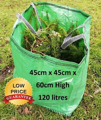 £7.89 • Buy Garden Waste Bags 120L Heavy Duty Strong Sack Grass Leaves Logs Builders Bag