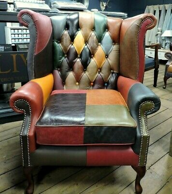 £769 • Buy Chesterfield Queen Anne Sofa And Chairs - Patchwork Leather Harlequin - Delivery