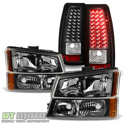 $168.99 • Buy Black 2003-2006 Chevy Silverado 1500 2500 3500 Headlights+LED Tail Lights Lamps