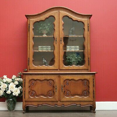 AU1450 • Buy Antique French Cabinet Cabinet With Storage Below, Bookcase Cupboard Glass Doors
