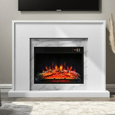 £284.96 • Buy AmberGlo White Marble Effect Electric Fireplace Suite With Surround