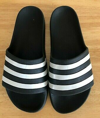 AU18.96 • Buy Ladies Adidas Slides Slip On Shoes Sandal Black White Stripe Size 7