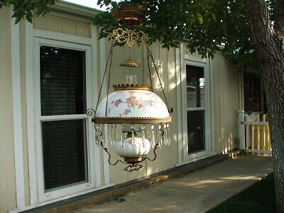 $ CDN488.45 • Buy Original Victorian Hanging Parlor Lamp, Library, Oil, GWTW, Antique, Prisms