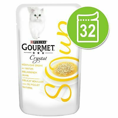 Gourmet Soup Megapack 32 X 40g Chicken Variety Complete Healthy Cat Wet Food • 29.99£