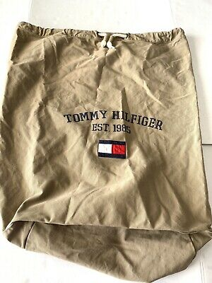 Tommy Hilfiger Large Vtg Duffle Bag Khaki  Rope Tie String Box Flag Spell Out • 21.44£