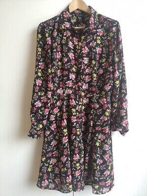 NEW LOOK Black Floral Flower Dress Size 14 Great Condition  • 9£