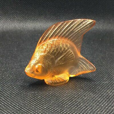 Lalique Fish, Amber Color, Gold Flakes Inside, 2  X 1.75  • 67.39£