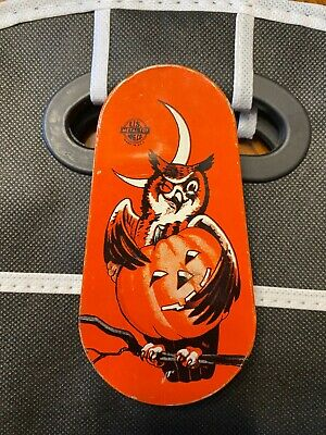 $ CDN31.72 • Buy Vintage Tin Halloween Noisemaker Owl/Pumpkin US Metal Toy