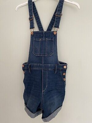 Girls Dark Blue Denim Short Dungarees H&M Age 10 EXCELLENT CONDITION • 1£