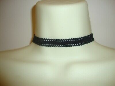 Black Lace Stretch Elastic Fabric Moulin Rouge Burlesque 12mm Choker Necklace • 2.10£