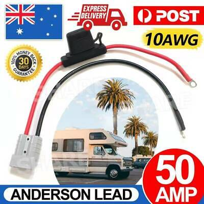 AU16.85 • Buy FUSED Anderson Lead 50amp Plug To 8mm Lugs, 10 B&S 60 Amp Cable Lead 250 Mm AU