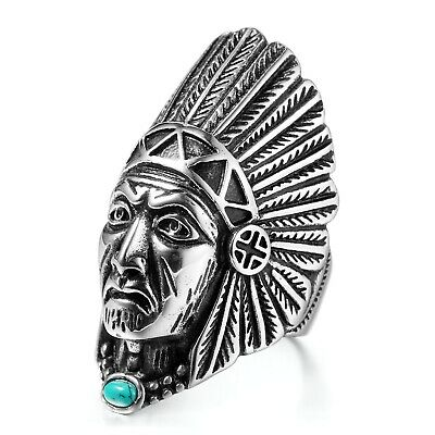 £8.99 • Buy Men's Tribal Indian Chief Head Turquoise 316L Stainless Steel Band Ring P ½-Z ½