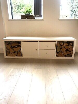 IKEA Kallax Shelving Unit With Inserts - Used As TV Cabinet. TV/logs Not Inc • 22£